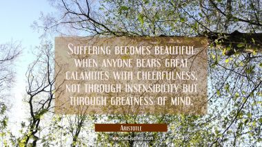 Suffering becomes beautiful when anyone bears great calamities with cheerfulness not through insens Aristotle Quotes