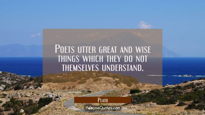 Poets utter great and wise things which they do not themselves understand.