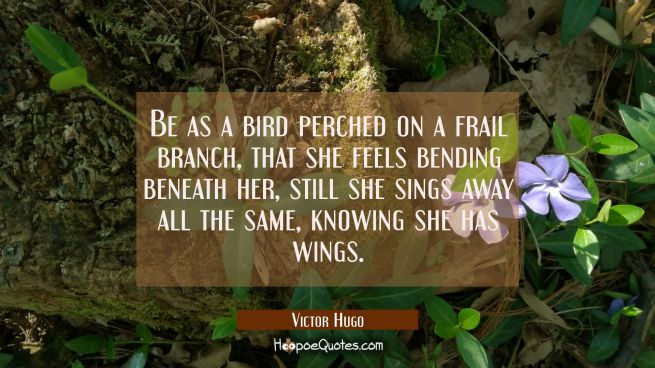 Be as a bird perched on a frail branch that she feels bending beneath her still she sings away all