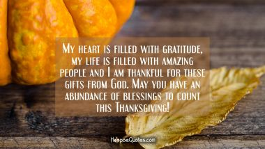 My heart is filled with gratitude, my life is filled with amazing people and I am thankful for these gifts from God. May you have an abundance of blessings to count this Thanksgiving! Thanksgiving Quotes