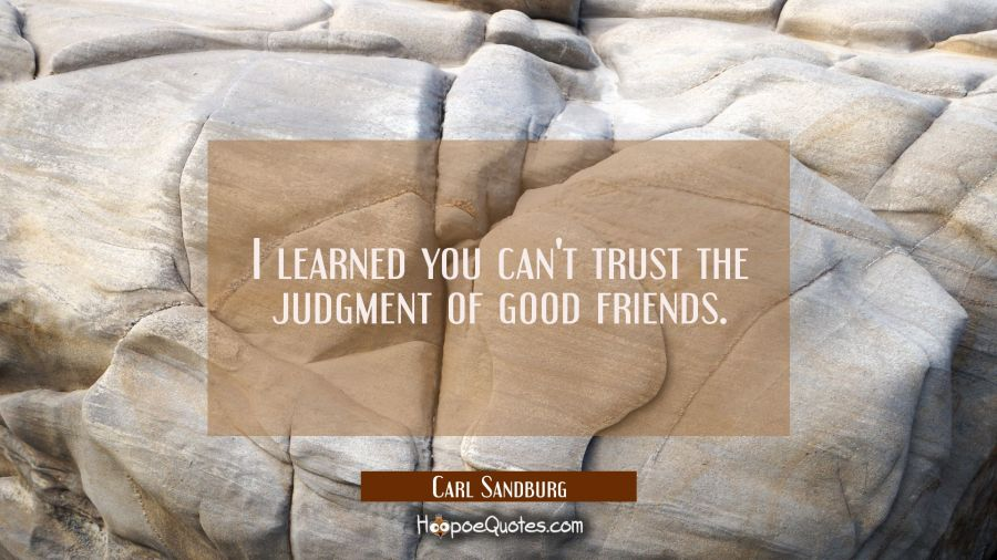 I learned you can't trust the judgment of good friends. Carl Sandburg Quotes