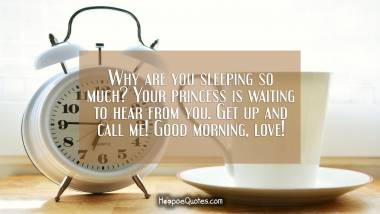 Why are you sleeping so much? Your princess is waiting to hear from you. Get up and call me! Good morning, love! Good Morning Quotes