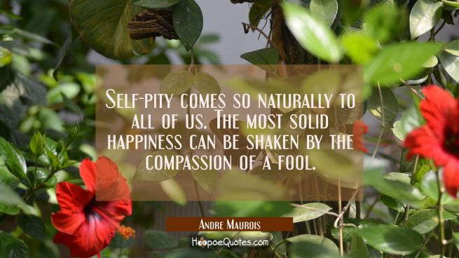 Self-pity comes so naturally to all of us. The most solid happiness can be shaken by the compassion