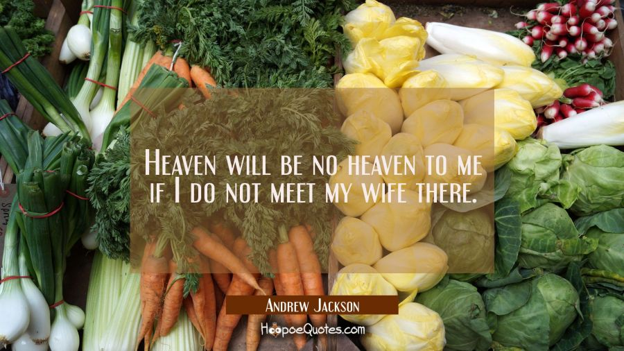 Heaven will be no heaven to me if I do not meet my wife there. Andrew Jackson Quotes
