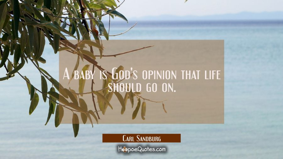 A baby is God's opinion that life should go on. Carl Sandburg Quotes