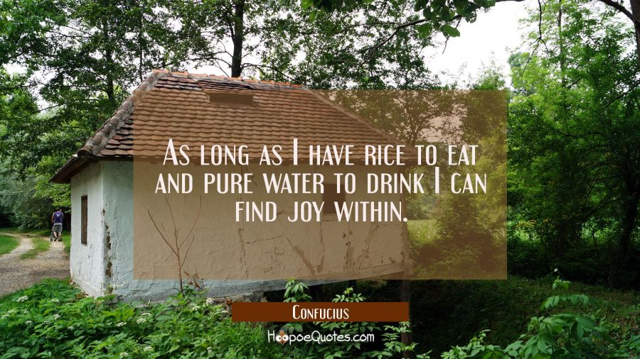 As long as I have rice to eat and pure water to drink I can find joy within. Confucius Quotes