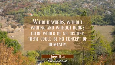 Without words, without writing and without books there would be no history, there could be no concept of humanity. Herman Hesse Quotes