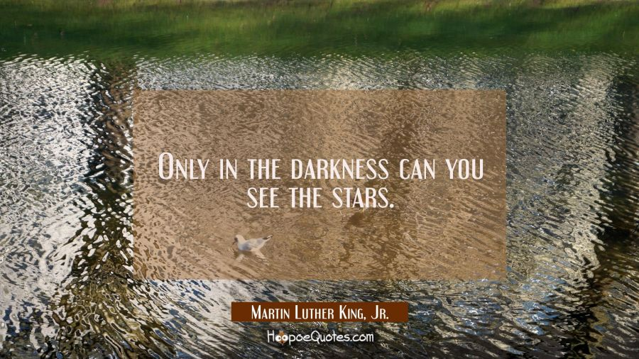 Only in the darkness can you see the stars. Martin Luther King, Jr. Quotes