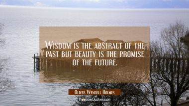 Wisdom is the abstract of the past but beauty is the promise of the future. Oliver Wendell Holmes Quotes