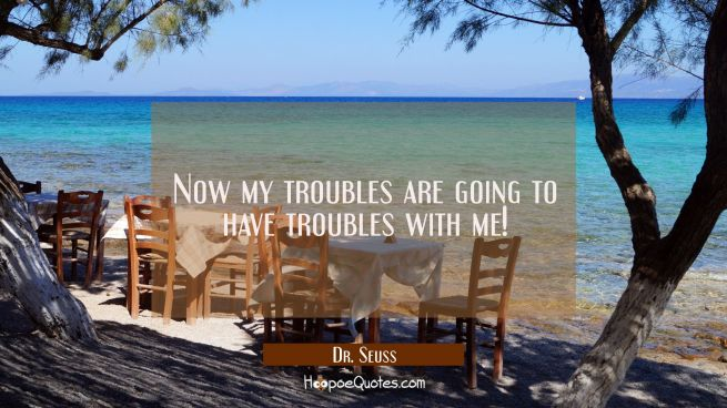 Now my troubles are going to have troubles with me!