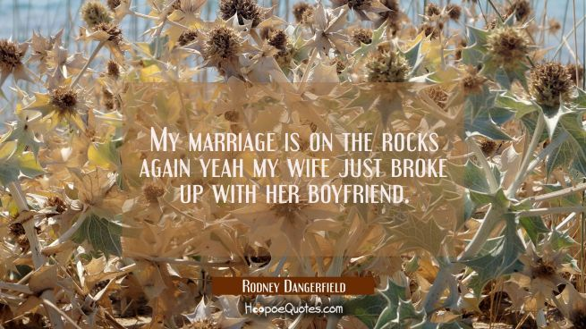 My marriage is on the rocks again yeah my wife just broke up with her boyfriend.