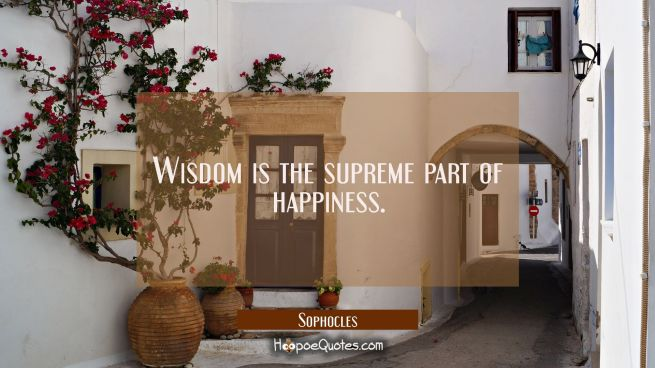 Wisdom is the supreme part of happiness.
