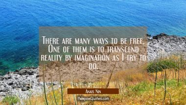 There are many ways to be free. One of them is to transcend reality by imagination as I try to do.