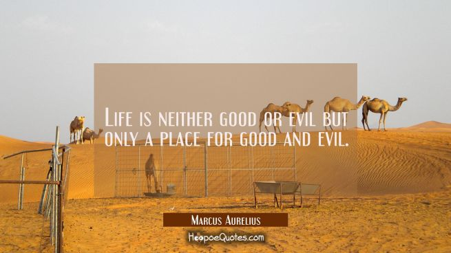 Life is neither good or evil but only a place for good and evil.