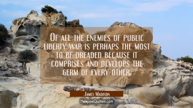 Of all the enemies of public liberty war is perhaps the most to be dreaded because it comprises and