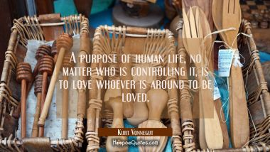 A purpose of human life, no matter who is controlling it, is to love whoever is around to be loved. Kurt Vonnegut Quotes