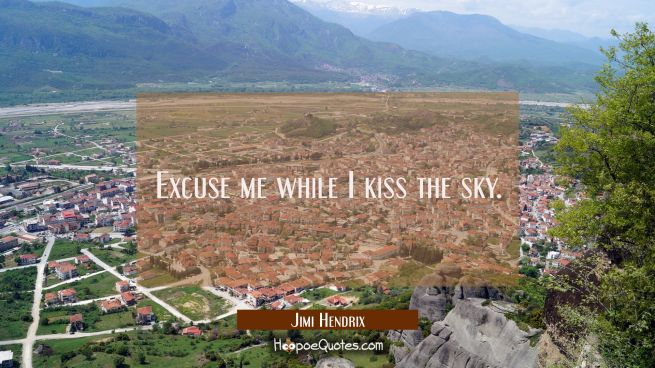 Excuse me while I kiss the sky.