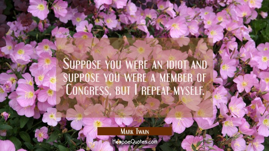 Funny political quotes - Suppose you were an idiot and suppose you were a member of Congress, but I repeat myself. - Mark Twain