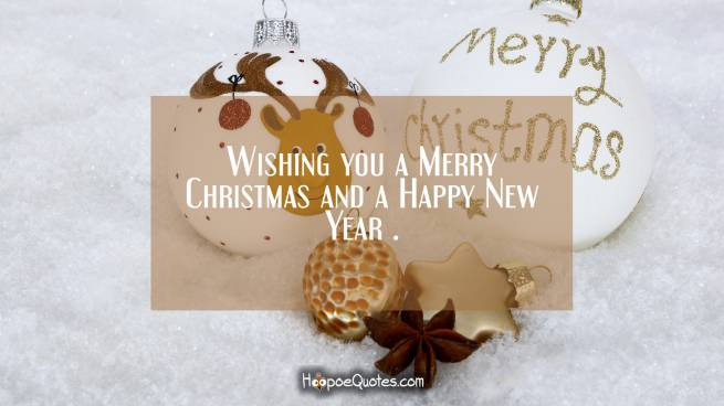 Wishing you a Merry Christmas and a Happy New Year