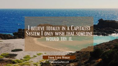 I believe totally in a Capitalist System I only wish that someone would try it.
