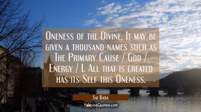 Oneness of the Divine. It may be given a thousand names such as The Primary Cause / God / Energy /