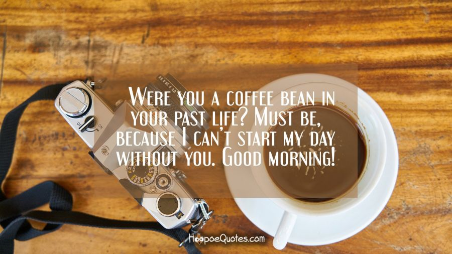 Were you a coffee bean in your past life? Must be, because I can't start my day without you. Good morning! Good Morning Quotes
