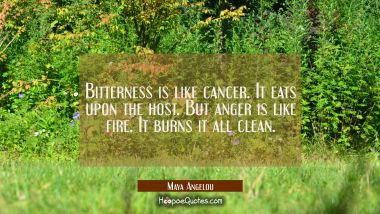 Bitterness is like cancer. It eats upon the host. But anger is like fire. It burns it all clean. Maya Angelou Quotes