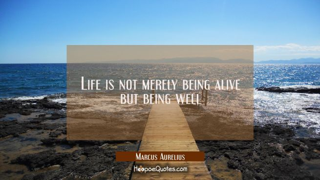 Life is not merely being alive but being well