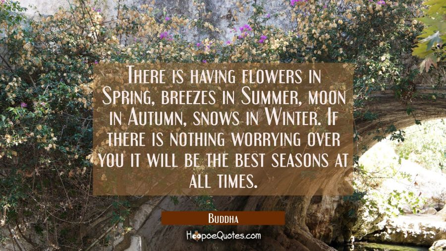 There is having flowers in Spring breezes in Summer moon in Autumn snows in Winter. If there is not Buddha Quotes