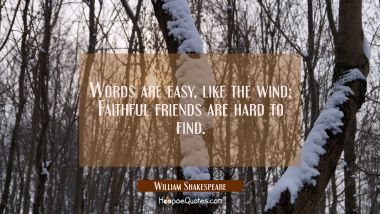 Words are easy, like the wind; Faithful friends are hard to find. William Shakespeare Quotes