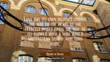 Love has its own instinct finding the way to the heart as the feeblest insect finds the way to its Honore de Balzac Quotes