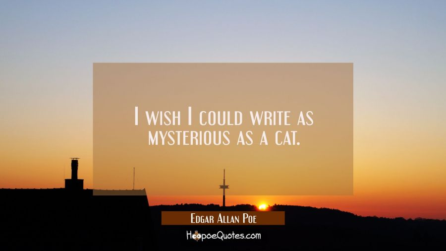 I wish I could write as mysterious as a cat. Edgar Allan Poe Quotes