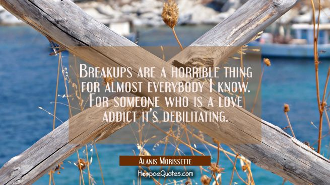 Breakups are a horrible thing for almost everybody I know. For someone who is a love addict it's de