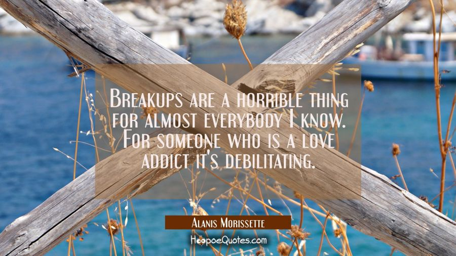 Breakups are a horrible thing for almost everybody I know. For someone who is a love addict it's de Alanis Morissette Quotes