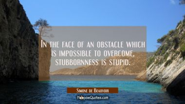 In the face of an obstacle which is impossible to overcome stubbornness is stupid.