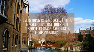 Everything is a miracle. It is a miracle that one does not dissolve in one's bath like a lump of su Pablo Picasso Quotes