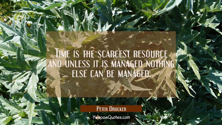 Time is the scarcest resource and unless it is managed nothing else can be managed. Peter Drucker Quotes