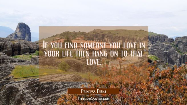 If you find someone you love in your life then hang on to that love.
