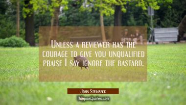 Unless a reviewer has the courage to give you unqualified praise I say ignore the bastard. John Steinbeck Quotes