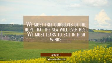 We must free ourselves of the hope that the sea will ever rest. We must learn to sail in high winds