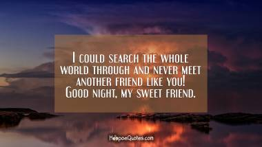 I could search the whole world through and never meet another friend like you! Good night, my sweet friend. Good Night Quotes