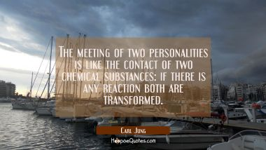 The meeting of two personalities is like the contact of two chemical substances: if there is any re