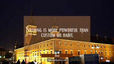 Nothing is more powerful than custom or habit.