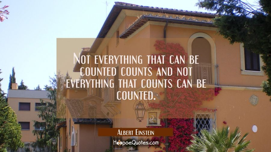 Not everything that can be counted counts and not everything that counts can be counted. Albert Einstein Quotes