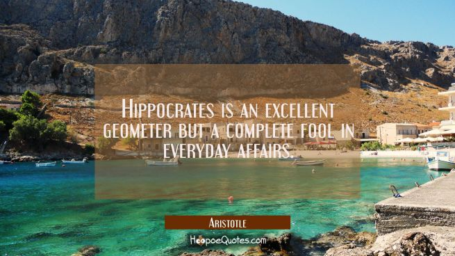 Hippocrates is an excellent geometer but a complete fool in everyday affairs.