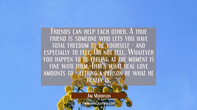 Friends can help each other. A true friend is someone who lets you have total freedom to be yoursel