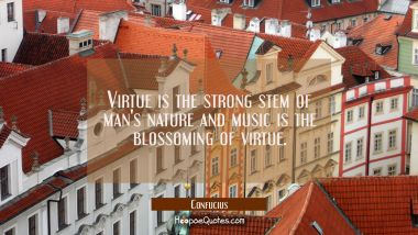 Virtue is the strong stem of man's nature and music is the blossoming of virtue.