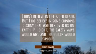 I don't believe in life after death. But I do believe in some grinding destiny that watches over us