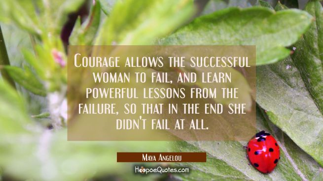 Courage allows the successful woman to fail- and learn powerful lessons- from the failure- so that