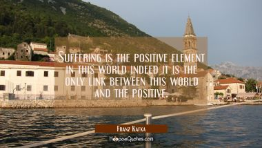 Suffering is the positive element in this world indeed it is the only link between this world and t Franz Kafka Quotes